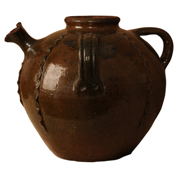Chestnut glazed terracotta oil jar, South West France, late 19th century, Ceramic - Kate Thurlow | Gallery Forty One