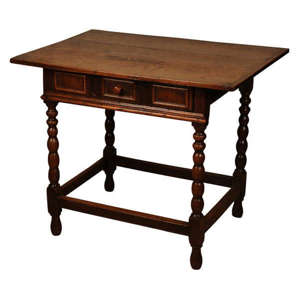 Oak sidetable with bobbin turned legs, English, circa 1690