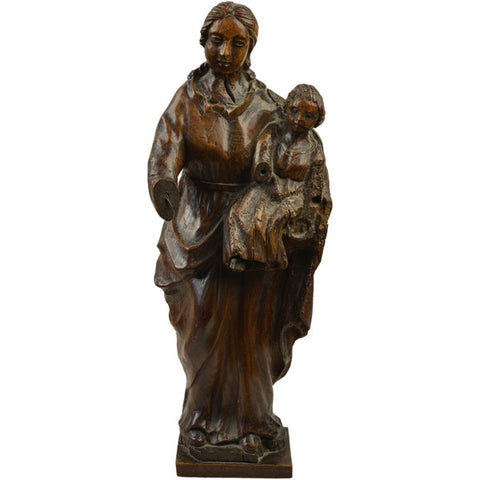 Oak carving of the Madonna and Child, French,  17th century