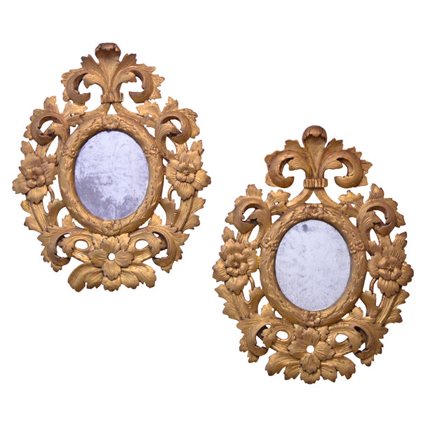 Pair of carved giltwood mirrors, Italy circa 1780, Mirror - Kate Thurlow | Gallery Forty One