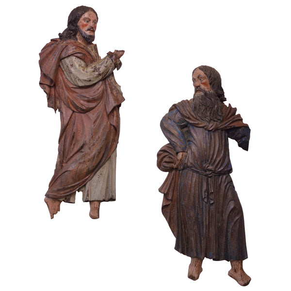 Two polychromed chestnut reliefs of saints, Tyrol, late 16th century, Sculpture - Kate Thurlow | Gallery Forty One
