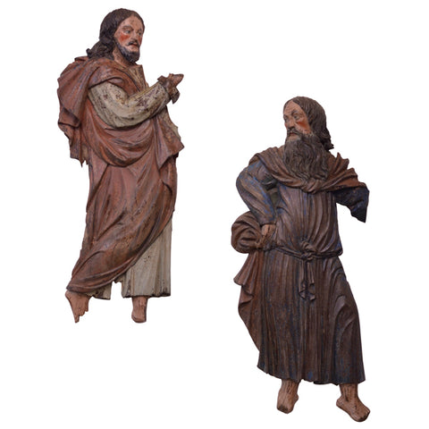 Two polychromed chestnut reliefs of saints, Tyrol, late 16th century