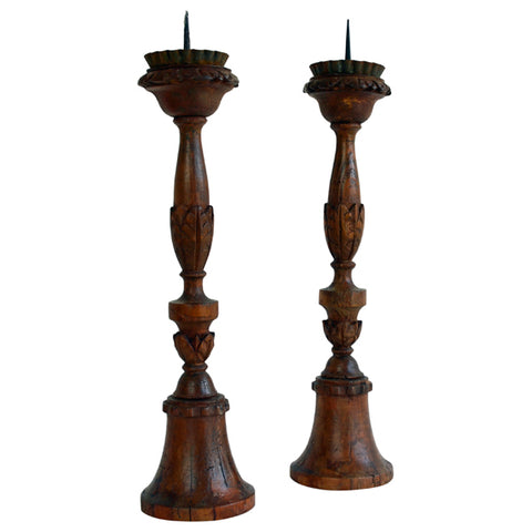 Pair turned pine wood pricket candlesticks, Italy late 18th century