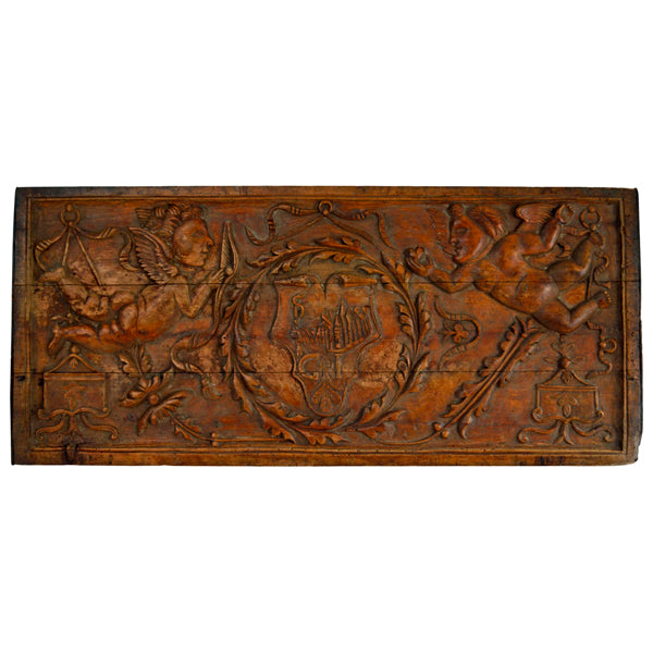 Carved poplar panel from a betrothal chest, Italy circa 1700, Wood carving - Kate Thurlow | Gallery Forty One