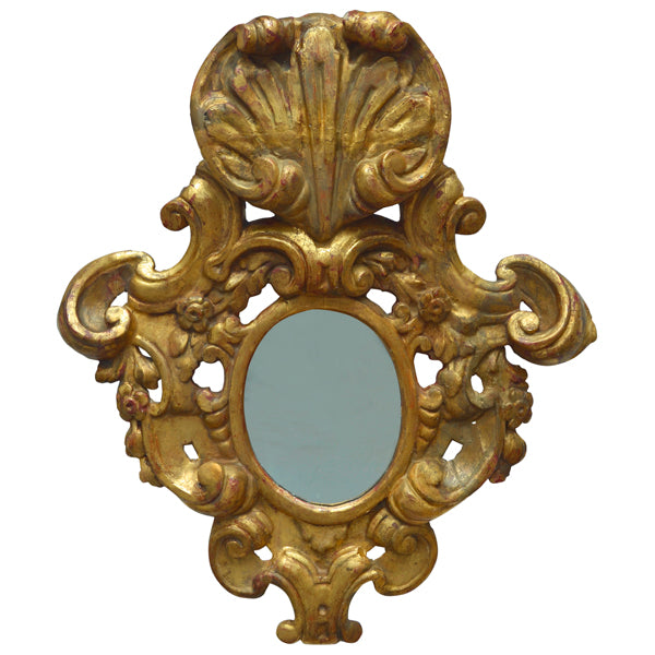 Flamboyantly carved giltwood mirror, Portugal, 18th century circa 1780, Mirror - Kate Thurlow | Gallery Forty One