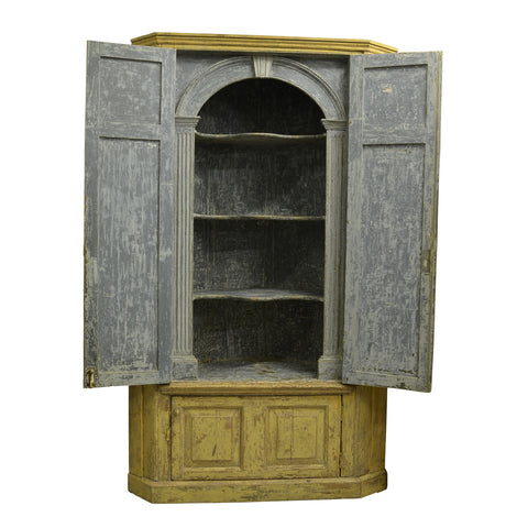 Georgian Painted Standing Corner Cupboard, English circa 1740