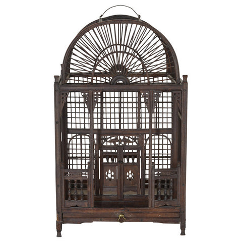 A wooden birdcage (bird cage) of architectural form, China, late 19th century