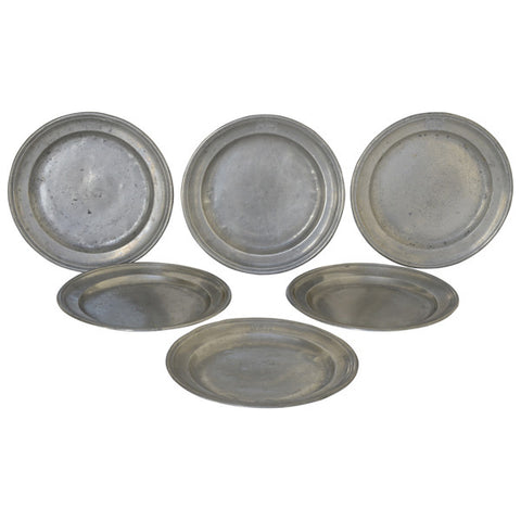 Six pewter plates, French, late 18th century