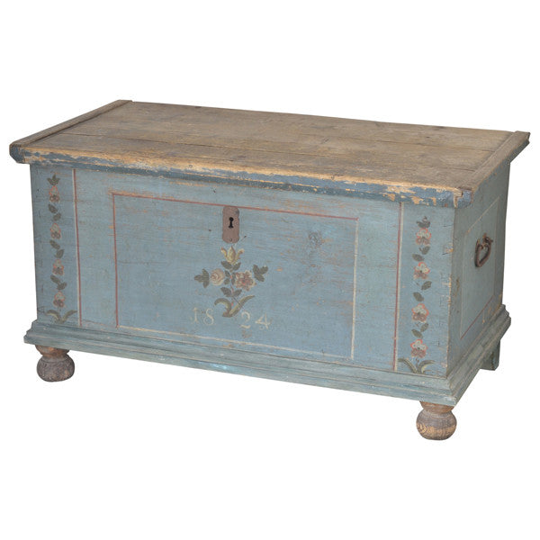 Blue painted coffer, dated 1824, Austria,  - Kate Thurlow | Gallery Forty One