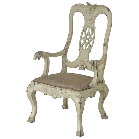 Ivory painted armchair, German mid 18th century