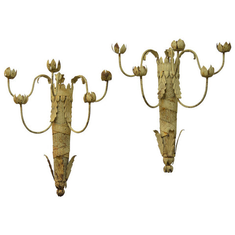 Pair of painted metal wall lights, French, early 20th century