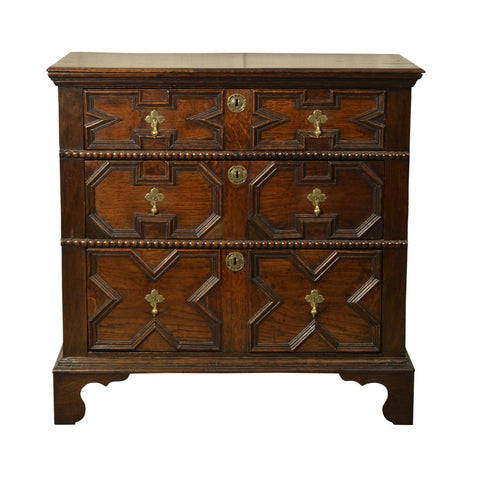 English oak moulded chest of drawers, late 17th century