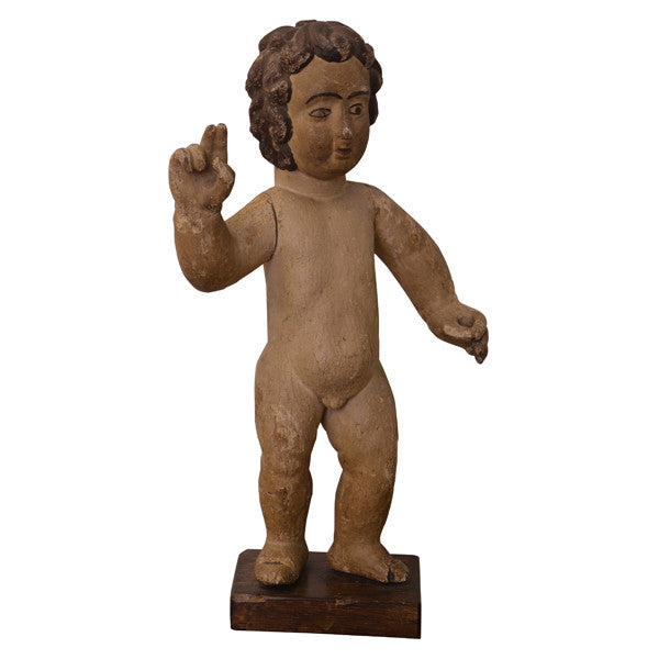 Carved wood sculpture of the Christ Child, Portuguese circa 1800, Sculpture - Kate Thurlow | Gallery Forty One