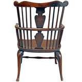Elm, ash and fruitwood comb back Windsor armchair, late 18th century