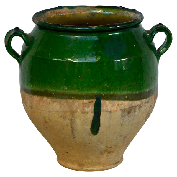 Terracotta confit jar with green glaze.  French, 19th century