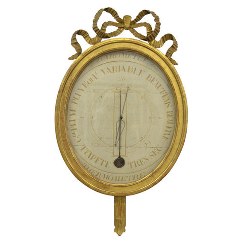 Large carved giltwood barometer, French Louis XVI, circa 1775