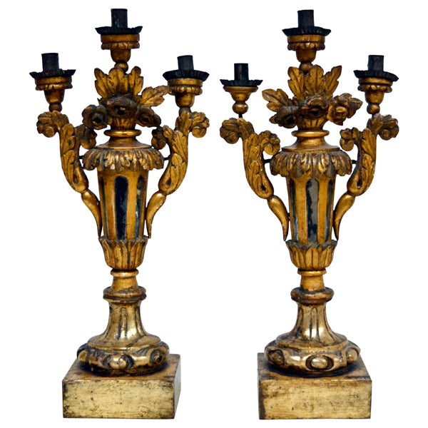 Pair giltwood three light candelabra, Italy late 18th century and later