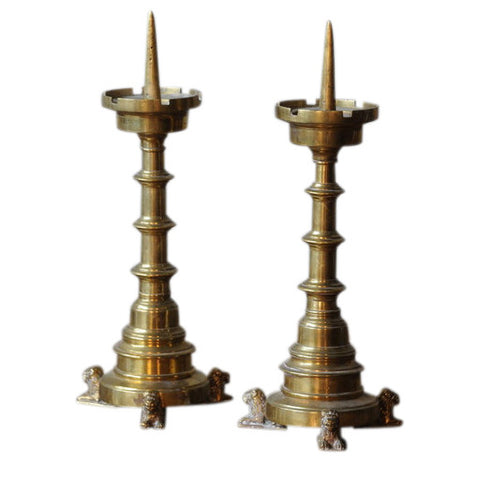 Pair of Gothic Revival brass candlesticks, circa, 1800