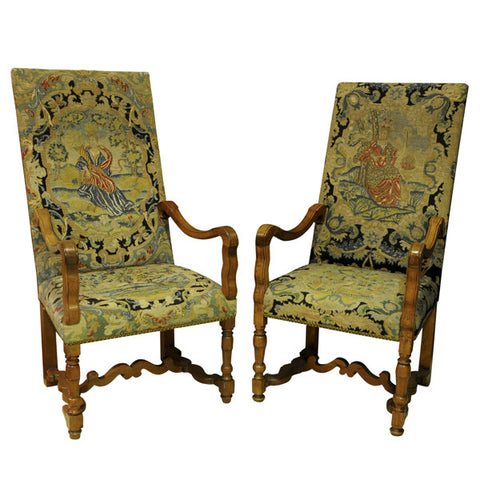 Pair of large fruitwood armchairs with needlework, French, late 17th century
