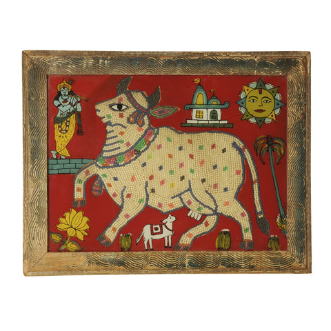 Framed Beadwork and reverse painted glass picture of a Holy Cow, Indian early 20th century