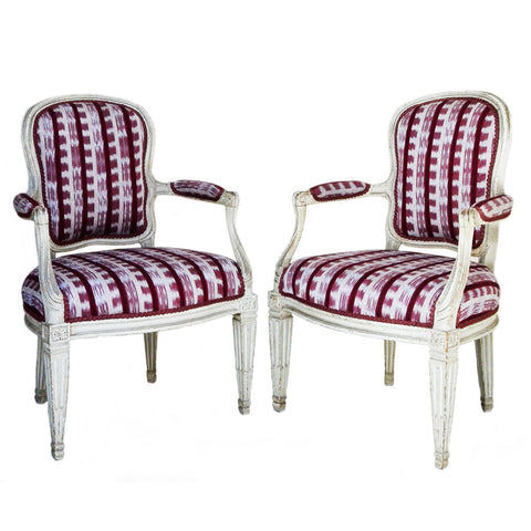 Pair grey painted armchairs, Italian 18th century