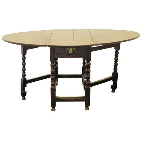 Oak large gateleg table, English late 17th century