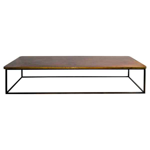 Brass bound mahogany top coffee table on modern iron base., Table - Kate Thurlow | Gallery Forty One