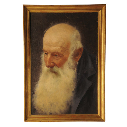 Oil painting of an elderly man, Alfredo Chicco 1860-1941