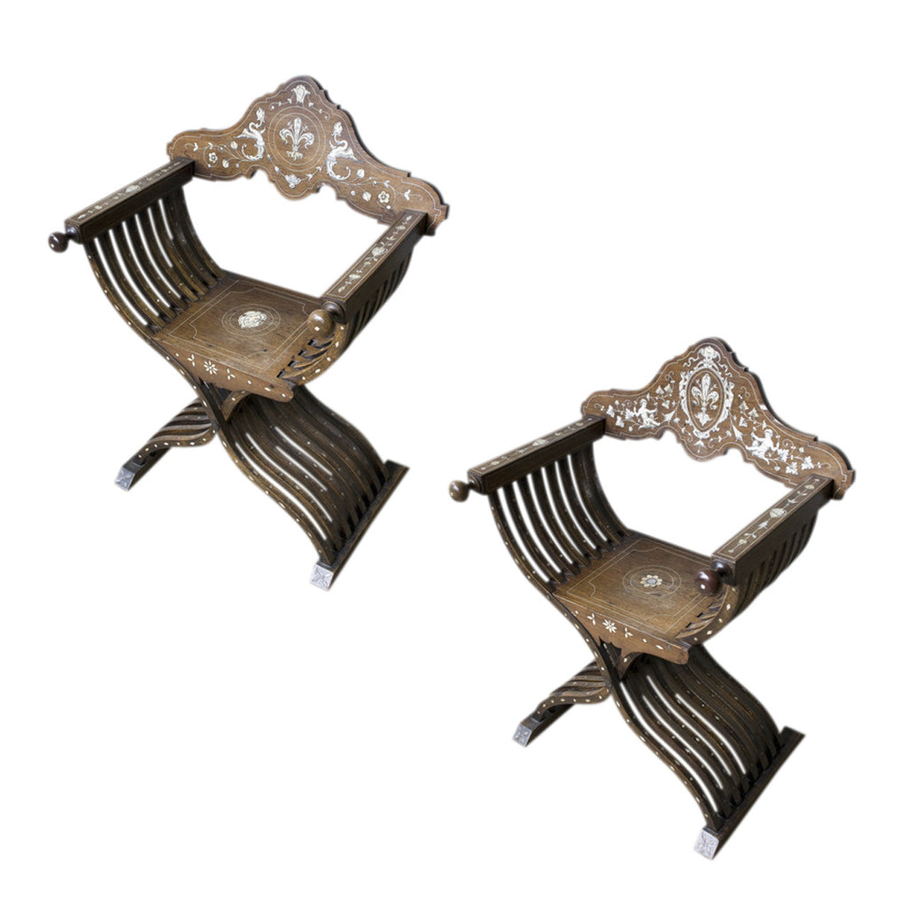 Pair of savonarola armchairs, 19th century, armchair - Kate Thurlow | Gallery Forty One
