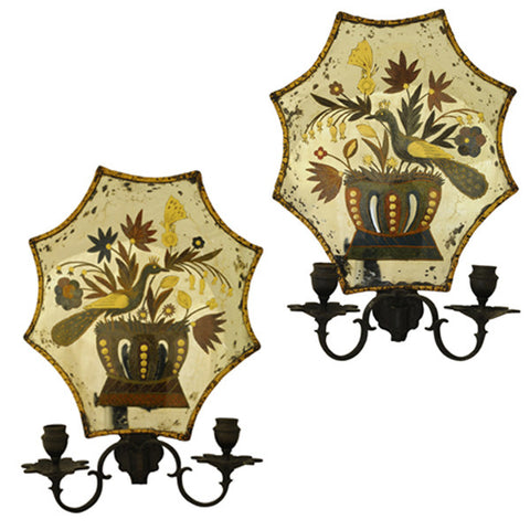Pair of verre eglomisé wall lights, Dutch circa 1850