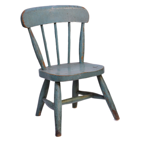 Turquoise painted beech children's spindleback chair, 20th century