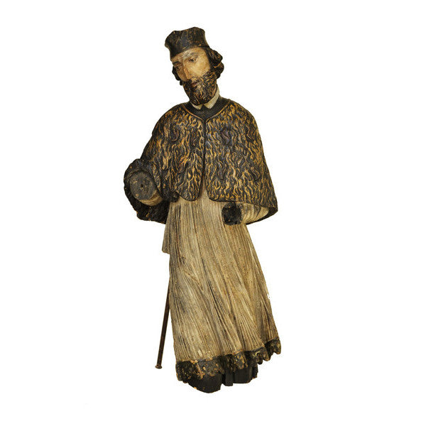 Limewood sculpture of St John of Nepomuk, Bohemia, early 17th century, Sculpture - Kate Thurlow | Gallery Forty One
