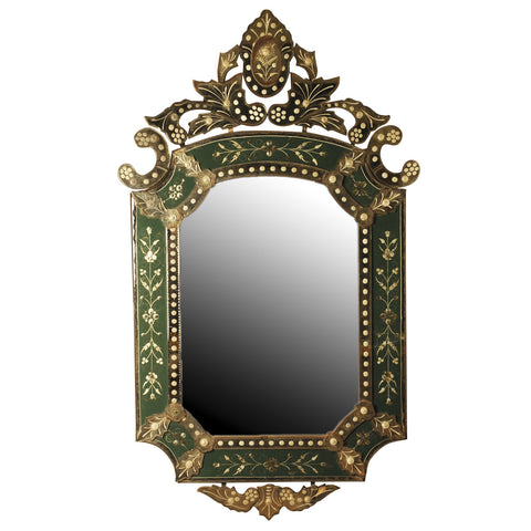 Venetian mirror with green ground, Italian 20th century