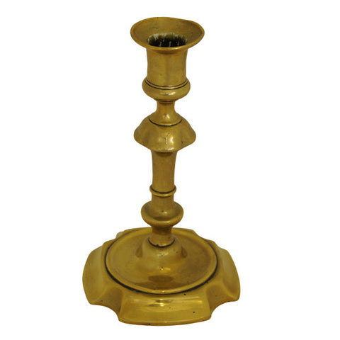 Brass turned candlestick, English, Mid 18th century