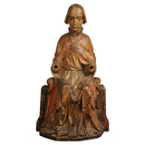 Important wood carving of a seated Bishop, Swabian circa 1350
