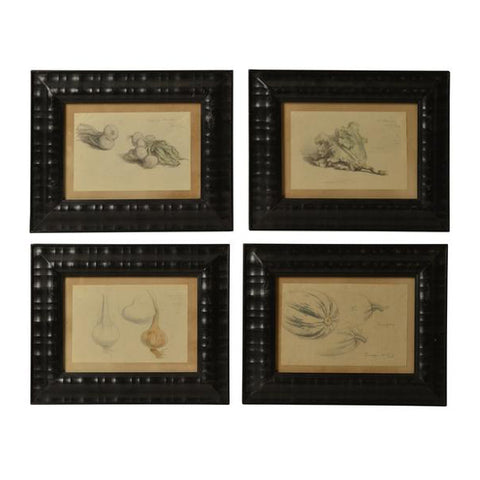 Four framed watercolour and graphite drawings, French, early 20th century