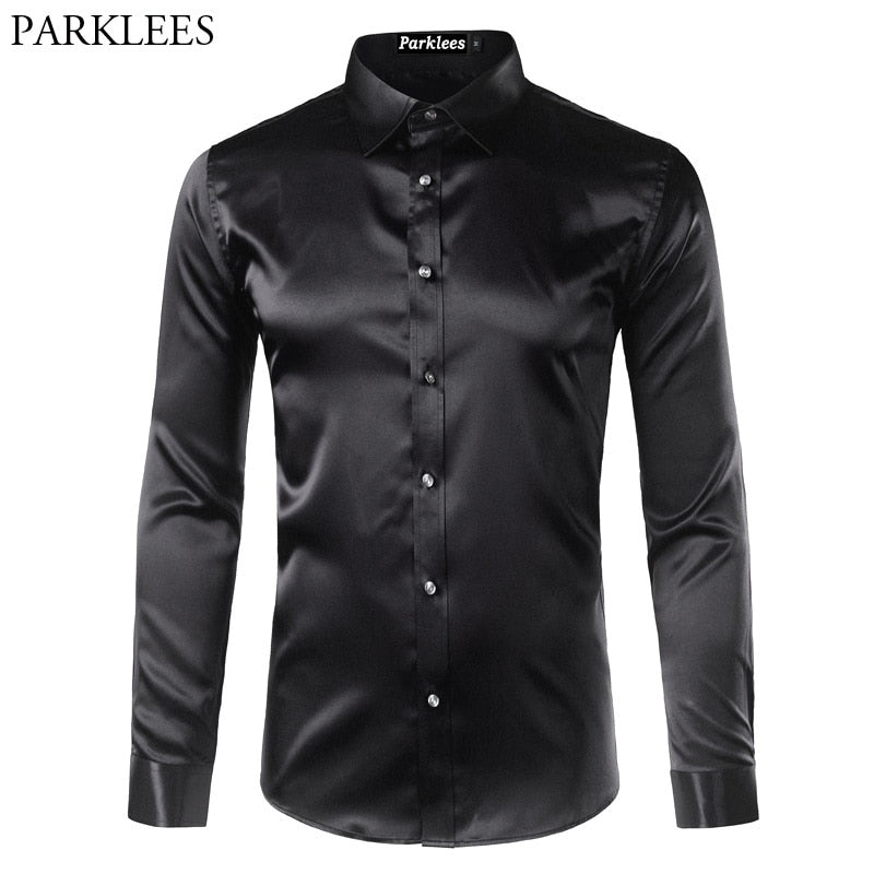 High Quality Mens Silk Satin Shirt Chemise Homme Casual L.Sleeve Slim Fit