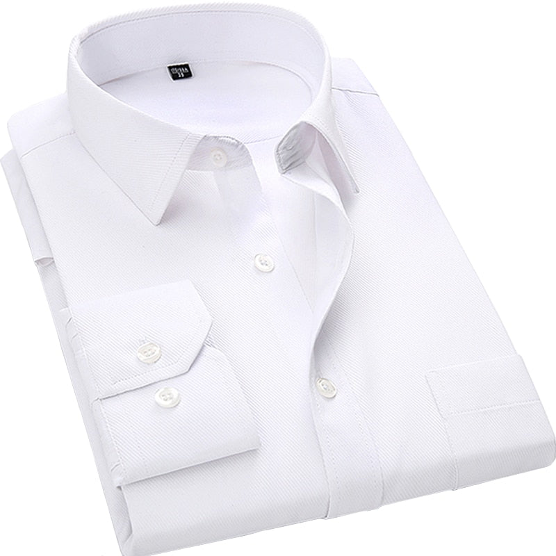 Big & Tall Size Men's Business Casual L. Sleeved Shirt White Blue Black
