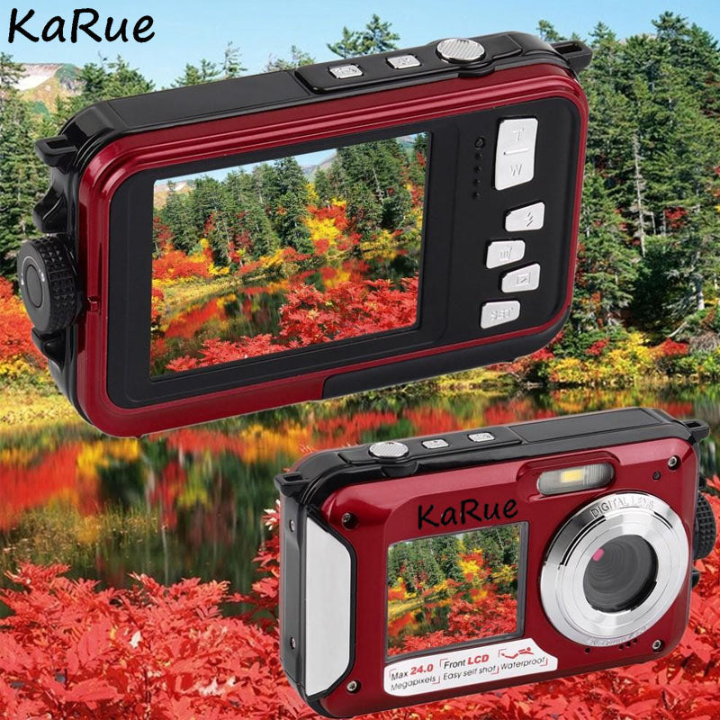 KaRue W599 Professional Camera 24 MP 2.7inch 3MP CMOS Front Rear Dual-screen  Digital Cameras Waterproof Compact Camera