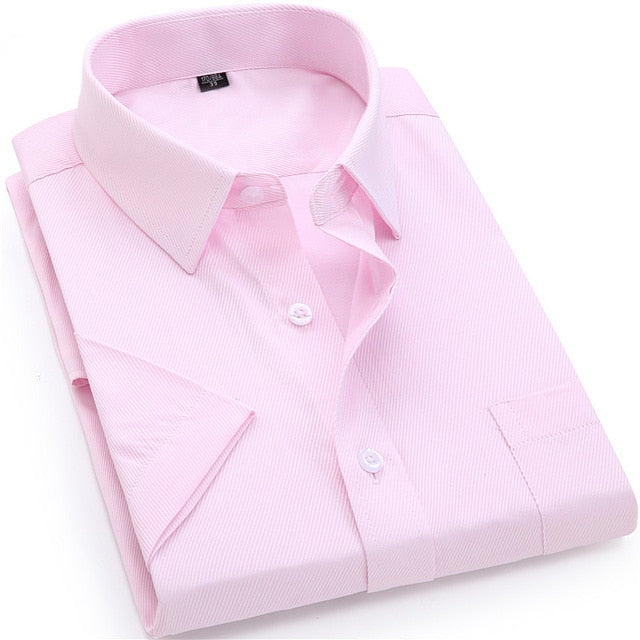 Men's Casual Dress Short Sleeved Shirt Twill White Blue Pink Black Shirts 4XL 5XL 6XL 7XL 8XL
