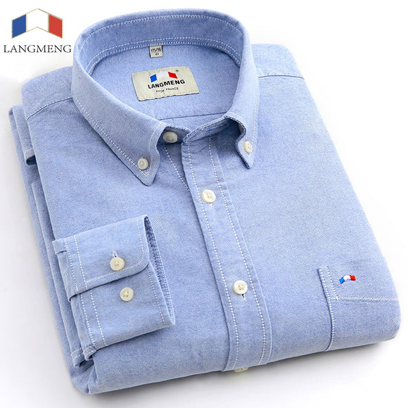 Oxford Dress/Casual mens' shirts plus size,100% cotton solid Spring colors