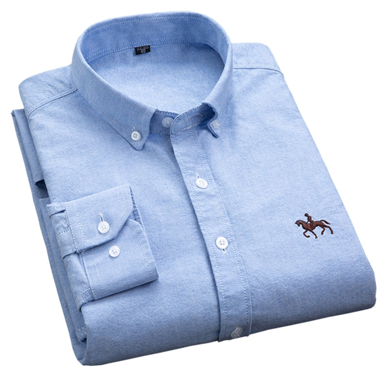 New OXFORD Business Shirts 100% COTTON ,button collar slim-fit PLUS