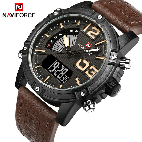 2018 NAVIFORCE Men's Fashion Sport Watches Men Quartz Analog Date Clock Man Leather Military Waterproof Watch Relogio Masculino