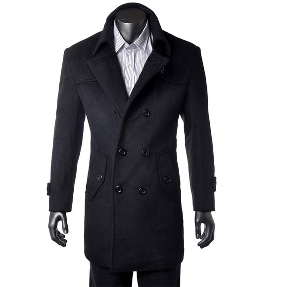 Custom Made Black Trench Coat Men, Double Breasted Winter Overcoat Men Long Coat, Cashmere Wool Coat Winter Coats For Men Jacket
