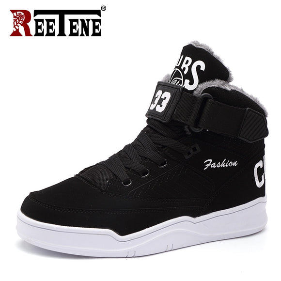REETENE Winter Warm Men Snow Boots High Top  Fur Men'S Boots Fashion Velvet Men Boots Casual Men'S Shoes Plush Size 39-47