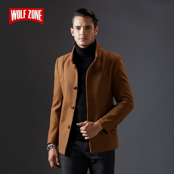 New Business Casual Woolen Long Men Coat Wool Winter Keep Warm Mens Coat Slim Fashion Single Breasted Male Overcoat Jacket