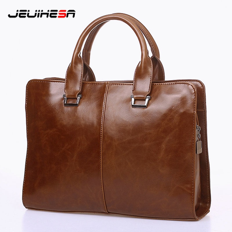 Men Casual Briefcase Business Shoulder Bag Computer Laptop 2018 Man Handbag Bag Leather Messenger Crossbody Bags Vintage Totes