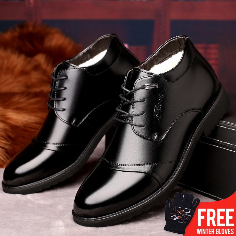 OSCO New Handmade Men Leather Winter Boots High Quality Warm Snow Men Boots Ankle Boots For Men Business Dress Shoes Men