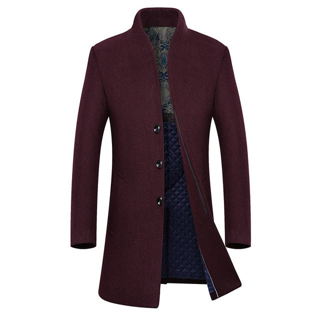 Brand Wine Red Long Trench Coat Men 2018 Winter New Men's Cashmere Pea Coat Slim Fit Wool &Blends Coat Overcoat Manteau Homme
