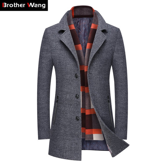 2019 Winter New Men's Casual Wool Trench Coat Business Fashion Thicken Slim Long Warm Overcoat Jacket Male Brand Clothing